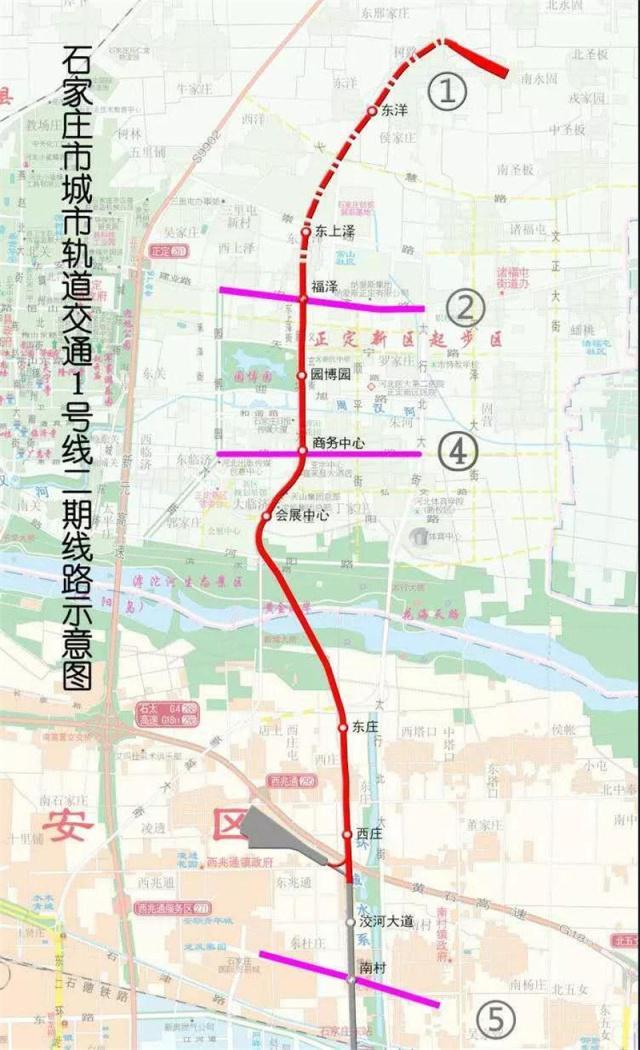 石家庄地铁1号线二期地图