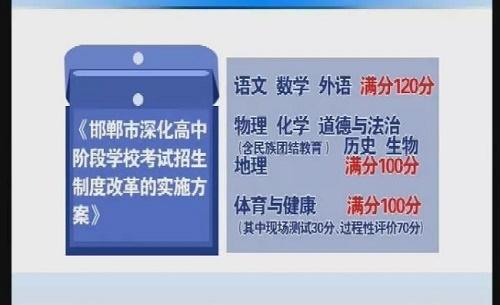 邯郸市中考改革